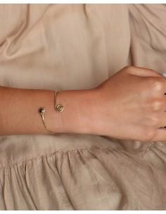 Demi jonc réglable doré et grenat - Mosaik bijoux indiens 2