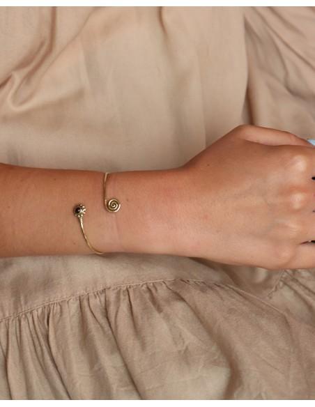 Bracelet laiton et grenat - Mosaik bijoux indiens