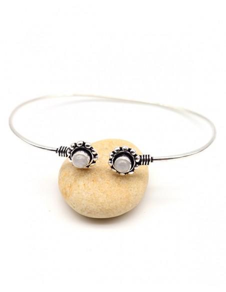 Bracelet argenté fin et 2 pierres de lune - Mosaik bijoux indiens