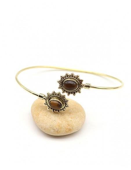 Bracelet ajustable doré et oeil de tigre - Mosaik bijoux indiens