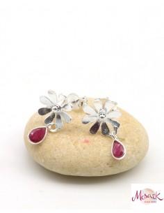 Puces d'oreilles argent fleur et rubis indiens - Mosaik bijoux indiens