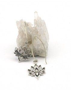 Boucles d'oreilles lotus pendantes en argent - Mosaik bijoux indiens