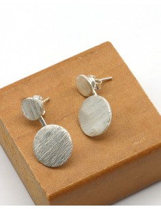Boucles d'oreilles rondes argent brossé - Mosaik bijoux indiens
