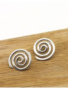 Puces d'oreilles spirales en argent - Mosaik bijoux indiens