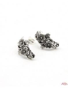 Boucles d'oreilles argent fleurs - Mosaik bijoux indiens