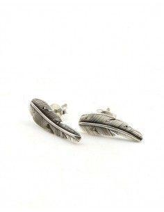 Boucles d'oreilles plume argent - Mosaik bijoux indiens
