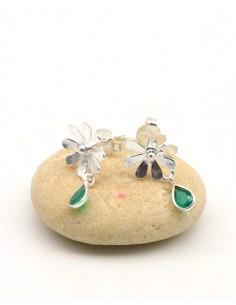 Boucles d'oreilles argent fleurs et agate verte - Mosaik bijoux indiens