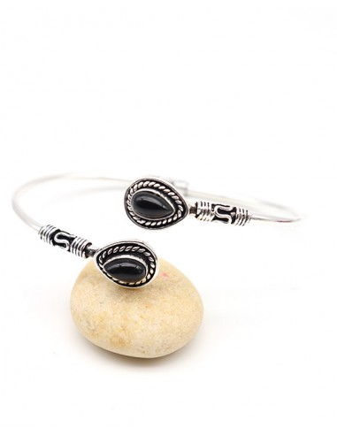Demi jonc argenté ajustable et onyx noir - Mosaik bijoux indiens