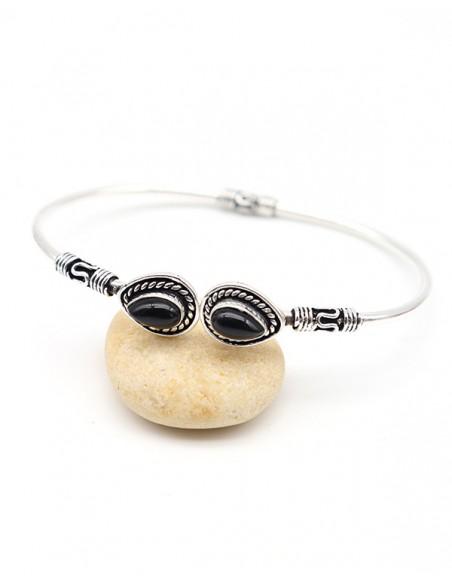 Bracelet ajustable argenté et onyx noir - Mosaik bijoux indiens