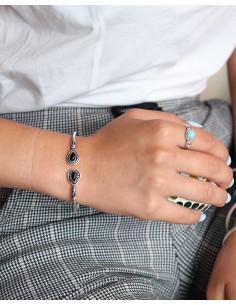 Demi jonc argenté ajustable et onyx noir - Mosaik bijoux indiens 2