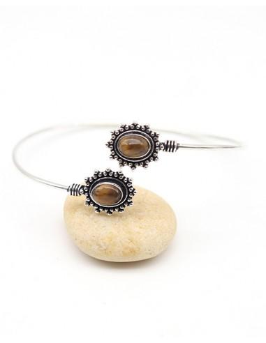 Bracelet fin argenté et oeil de tigre - Mosaik bijoux indiens