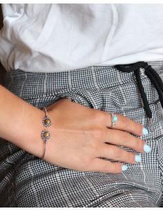Bracelet fin argenté et oeil de tigre - Mosaik bijoux indiens 2