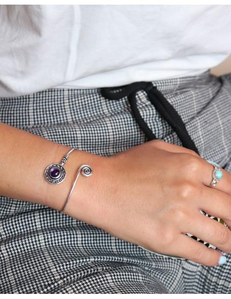 Bracelet ajustable argenté et améthyste - Mosaik bijoux indiens