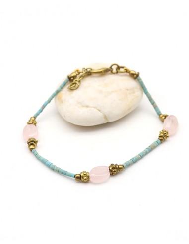 Bracelet fantaisie turquoise et quartz rose - Mosaik bijoux indiens