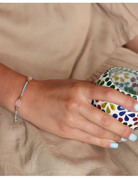 Bracelet fin turquoise et quartz rose - Mosaik bijoux indiens