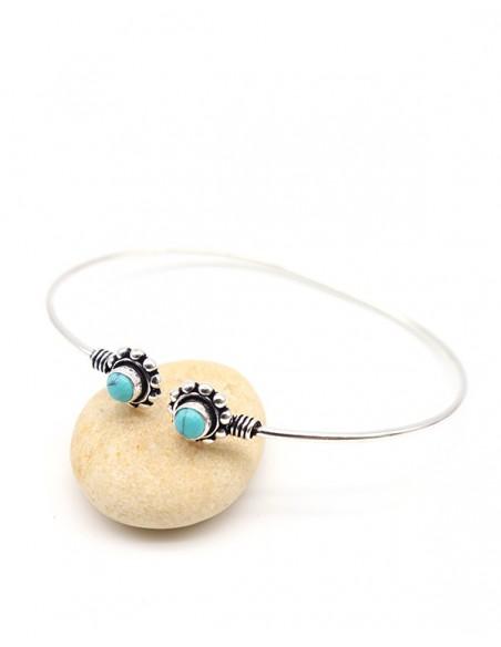Bracelet rigide argenté et turquoises - Mosaik bijoux indiens