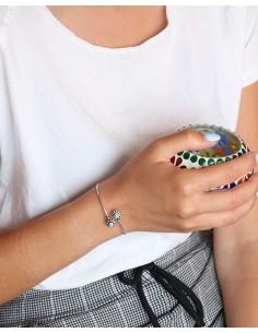 Demi jonc fin ajustable et turquoise - Mosaik bijoux indiens 2