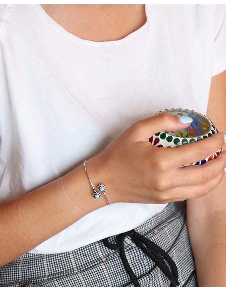 Bracelet argenté et turquoise - Mosaik bijoux indiens