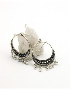 Boucles d'oreilles argent bohème à pampilles - Mosaik bijoux indiens