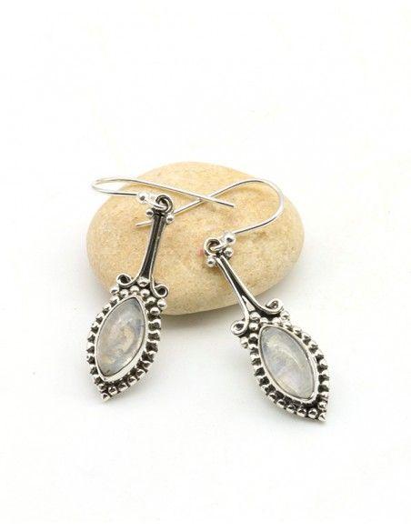 Boucles d'oreilles argent fines et pierre de lune - Mosaik bijoux indiens