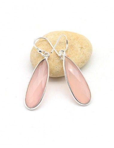 Boucles d'oreilles argent fines et quartz rose - Mosaik bijoux indiens
