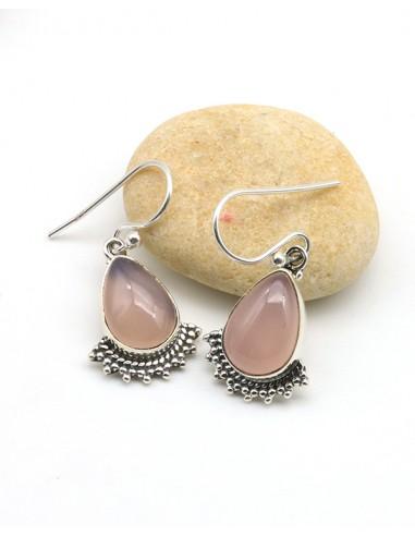 Boucles d'oreilles argent et quartz rose naturels - Mosaik bijoux indiens