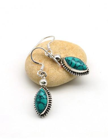 Boucles d'oreilles argent et turquoise naturelle - Mosaik bijoux indiens
