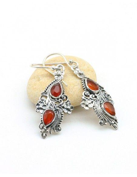 Boucles d'oreilles argent ethniques et cornaline - Mosaik bijoux indiens