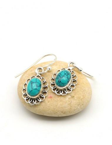 Boucles d'oreilles argent fleurs et turquoise - Mosaik bijoux indiens