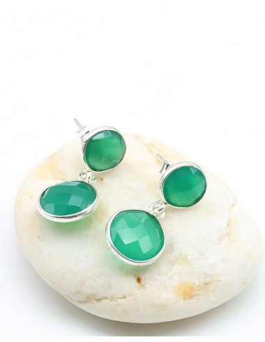 Boucles d'oreilles argent et agate verte ronde facettée - Mosaik bijoux indiens