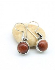 Boucles d'oreilles argent et pierre de soleil - Mosaik bijoux indiens