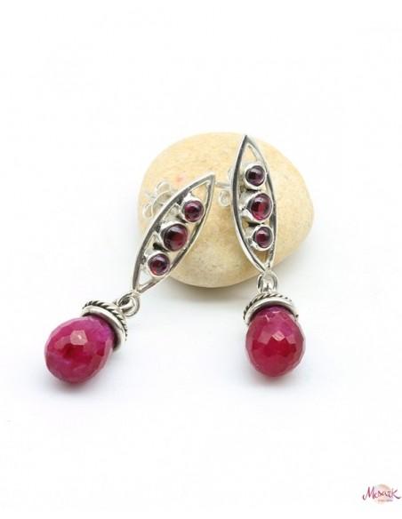 Boucles d'oreilles argent grenat et rubis indien - Mosaik bijoux indiens