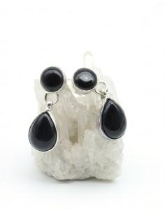 Boucles d'oreilles argent et onyx - Mosaik bijoux indiens
