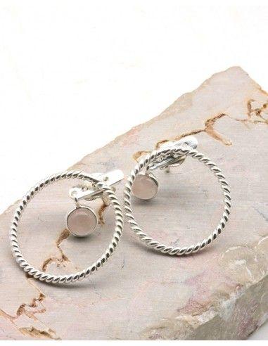 Boucles d'oreilles rondes argent et quartz rose - Mosaik bijoux indiens