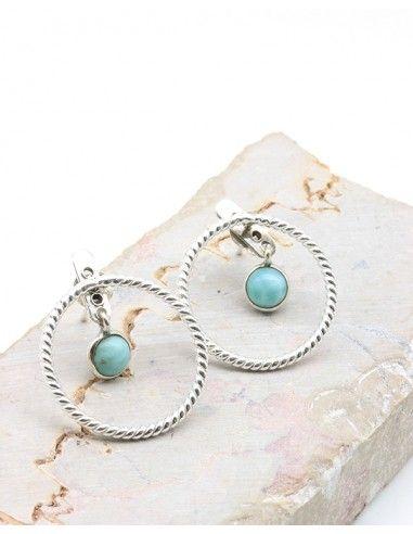 Boucles d'oreilles argent rondes et larimar - Mosaik bijoux indiens