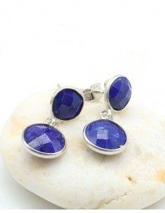 Boucles d'oreilles argent et lapis lazuli taillés - Mosaik bijoux indiens