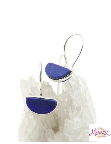 Dormeuses argent et lapis lazuli brut - Mosaik bijoux indiens