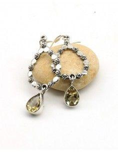 Boucles d'oreilles argent et citrine taillée - Mosaik bijoux indiens