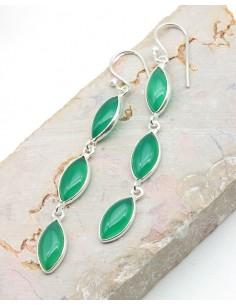 Boucles d'oreilles allongées argent et 3 agate verte - Mosaik bijoux indiens