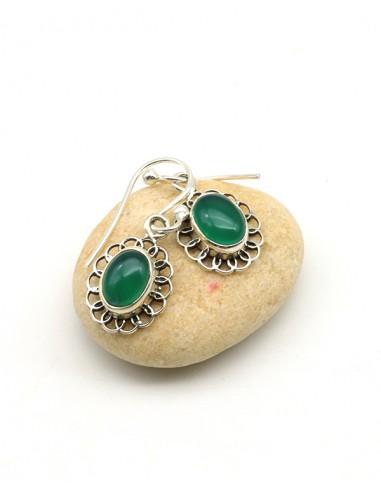 Boucles d'oreilles argent et agate verte - Mosaik bijoux indiens