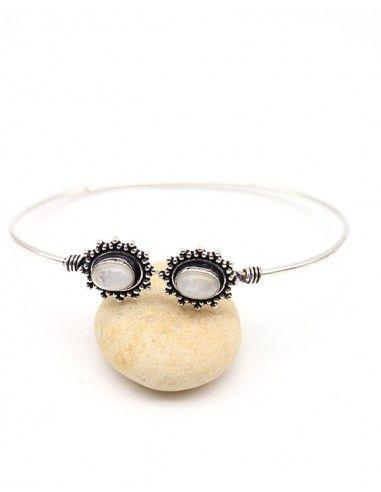 Bracelet pierre de lune - Mosaik bijoux indiens