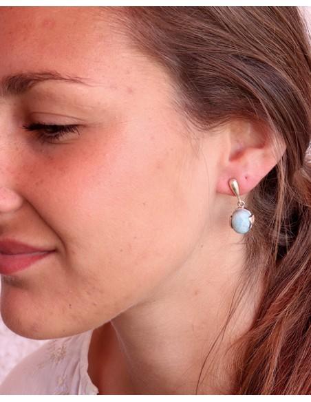 Boucles d'oreilles argent et pierre bleue - Mosaik bijoux indiens