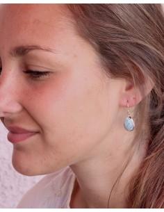 Boucles d'oreilles argent et larimar - Mosaik bijoux indiens 2