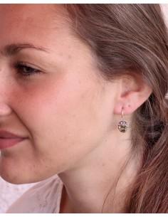 Boucles d'oreilles argent et citrine facettées - Mosaik bijoux indiens 2