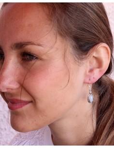 Boucles d'oreilles pierre de lune en argent - Mosaik bijoux indiens 2