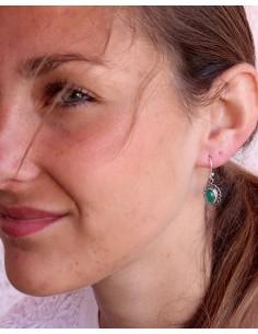 Boucles d'oreilles argent et agate verte - Mosaik bijoux indiens 2