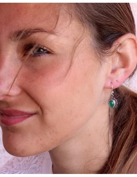 Boucle d'oreille argent pierre verte - Mosaik bijoux indiens