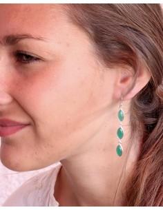 Boucles d'oreilles allongées argent et 3 agate verte - Mosaik bijoux indiens 2