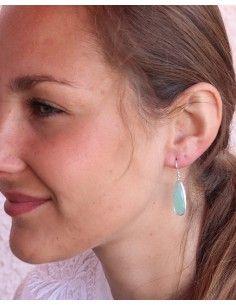 Boucles d'oreilles argent goutte en calcédoine - Mosaik bijoux indiens 2
