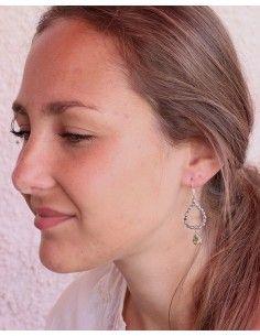 Boucles d'oreilles argent et citrine taillée - Mosaik bijoux indiens 2